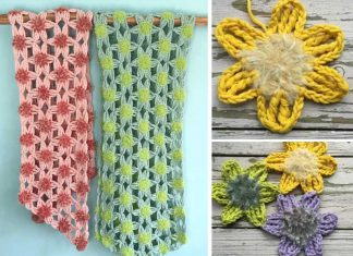 Furry Flower Shawl crochet Free pattern