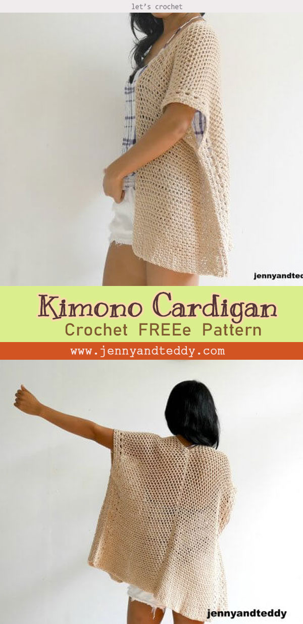 The vacation kimono cardigan free crochet pattern