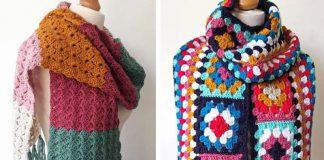 Easy Crochet Granny Square Scarf Free Pattern