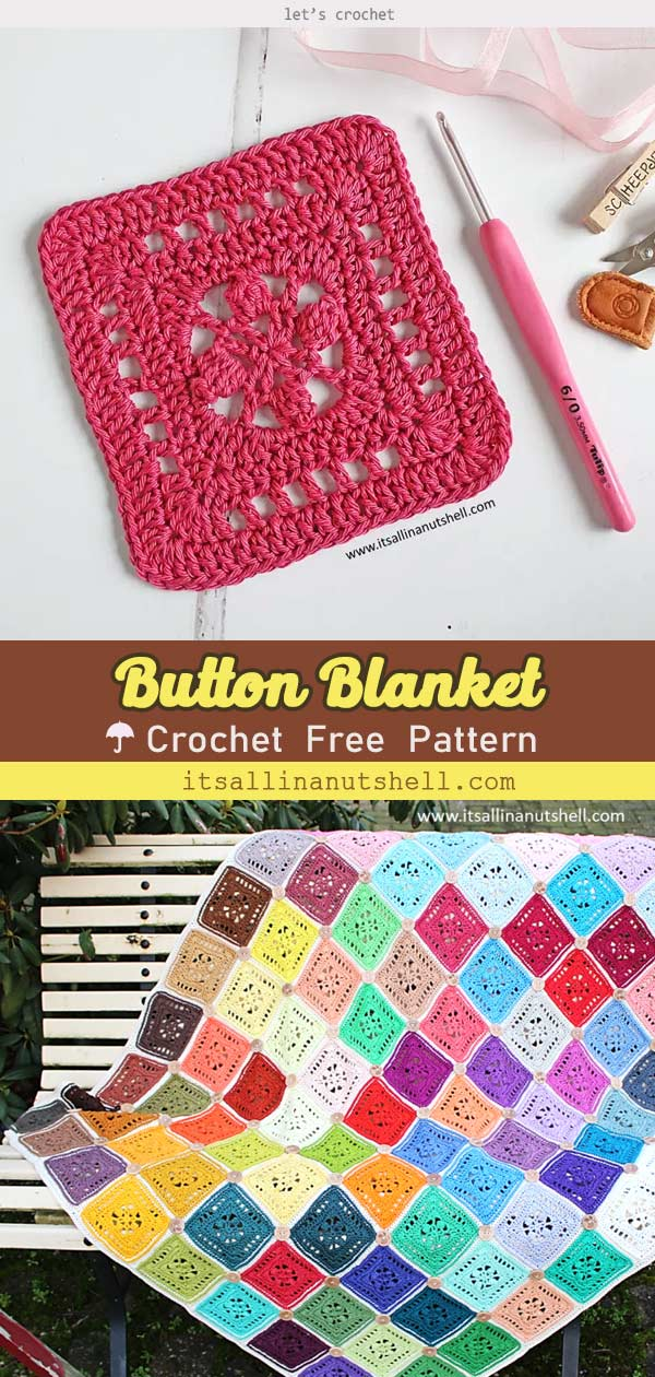 Rainbow Color Button Blanket Free Crochet Pattern