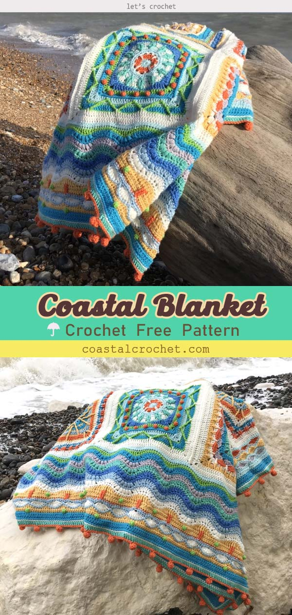 Crochet Beach Coastal Blanket Free Pattern