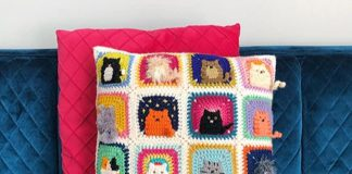 Many Cats Square Pillow Free Crochet Pattern