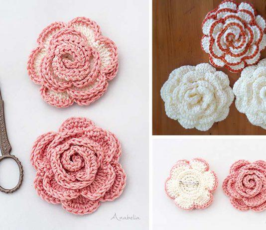 Rose Flower Crochet Free Pattern