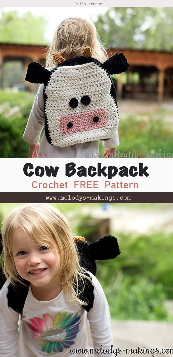 Cow Backpack Free Crochet Pattern