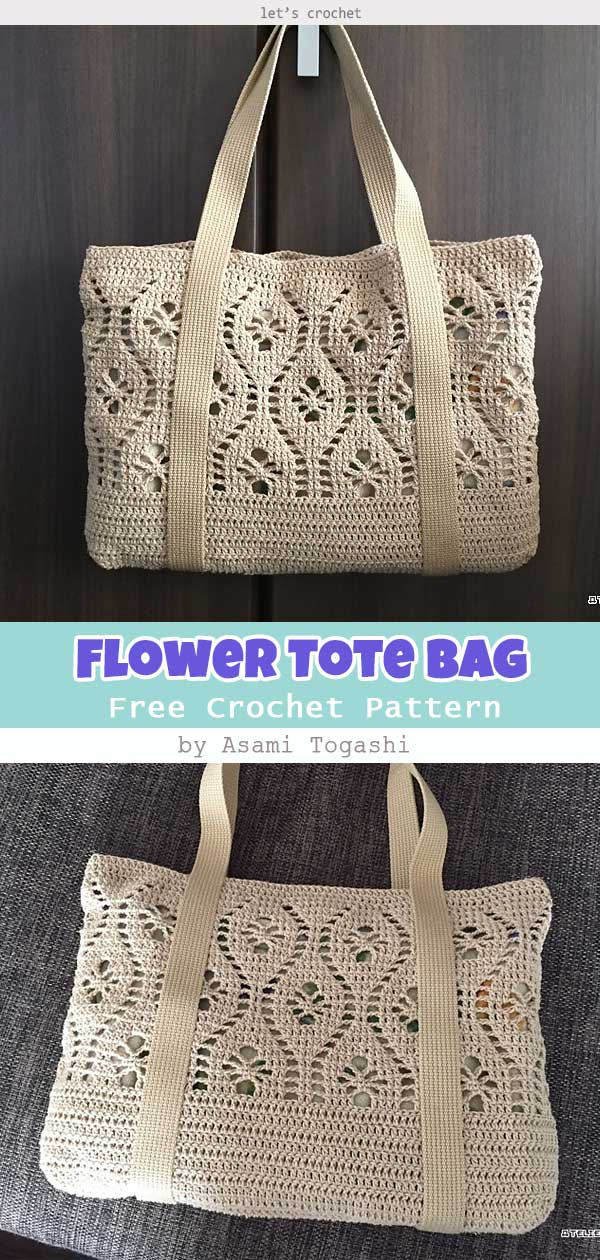 Flower Tote Bag Free Crochet Pattern
