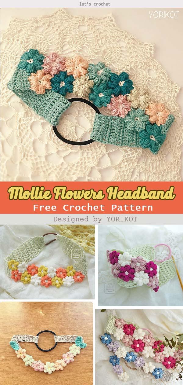 Mollie Flowers Headband Free Crochet Pattern