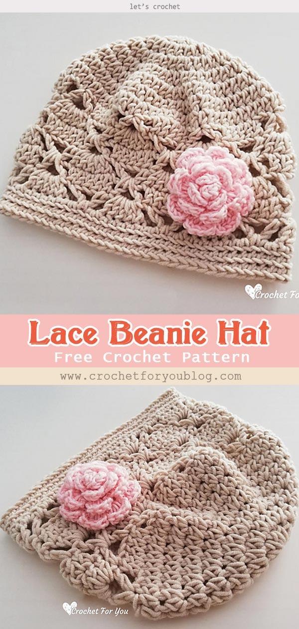 Lace Beanie Hat Free Crochet Pattern