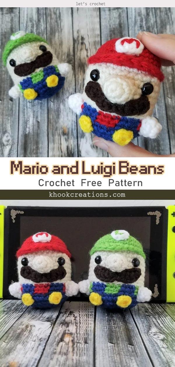 Mario and Luigi Beans Crochet Free Pattern