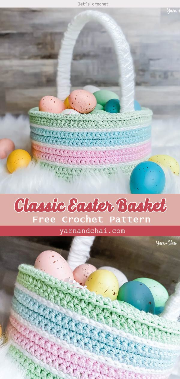 Classic Easter Basket Free Crochet Pattern