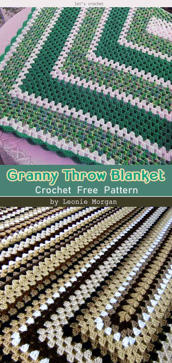 Rectangle Granny Throw Blanket Free Crochet Pattern