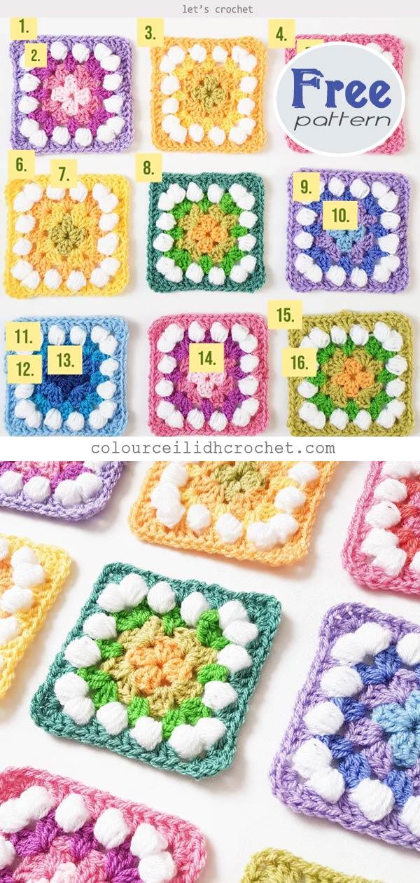 Easter Granny Rainbow Squares Free Crochet Pattern