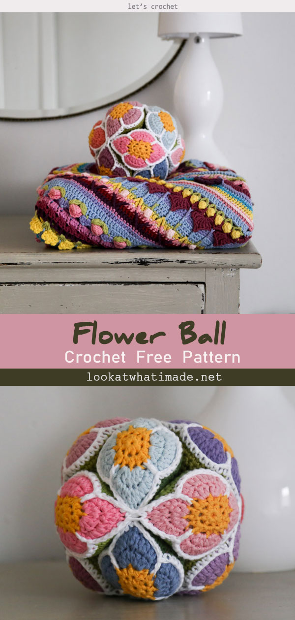 Crochet Flower Ball Free Pattern (Amish Puzzle Ball)