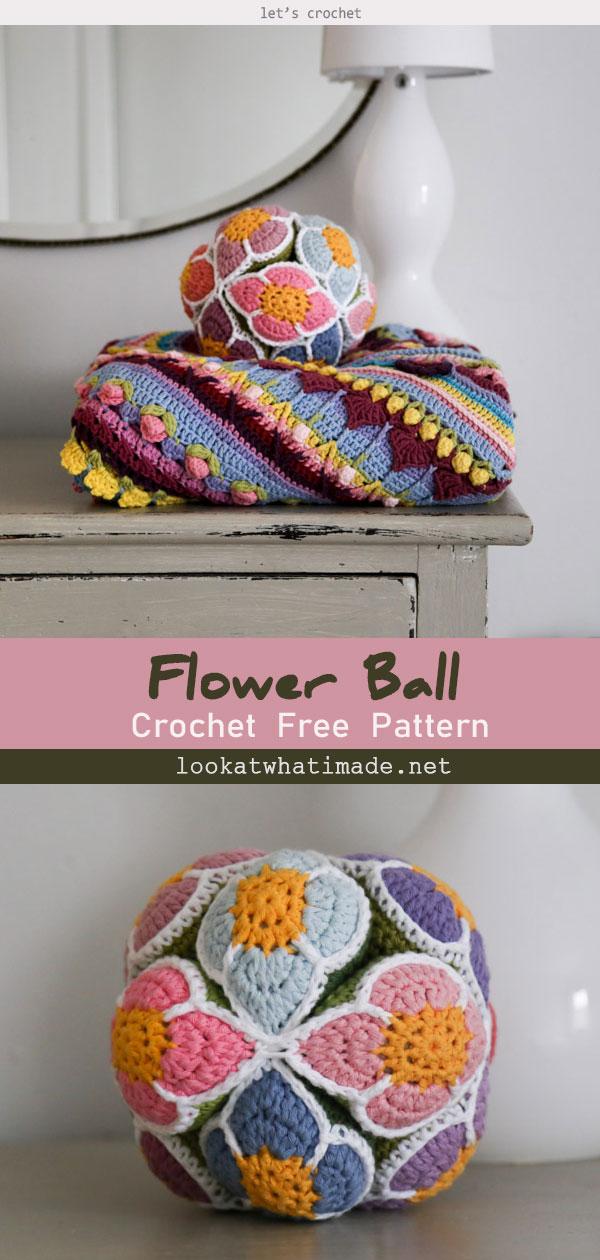 Crochet Flower Ball Free Pattern (Amish Puzzle Ball)