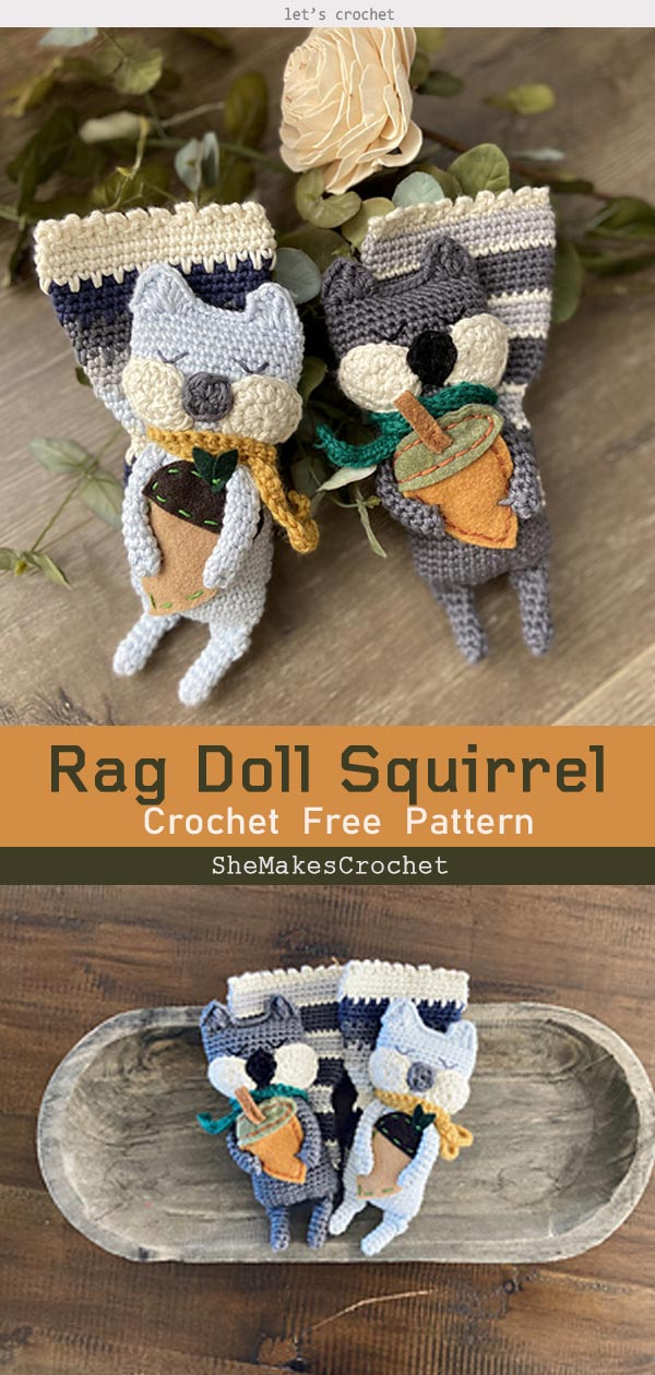 Rag Doll Squirrel Free Crochet Pattern