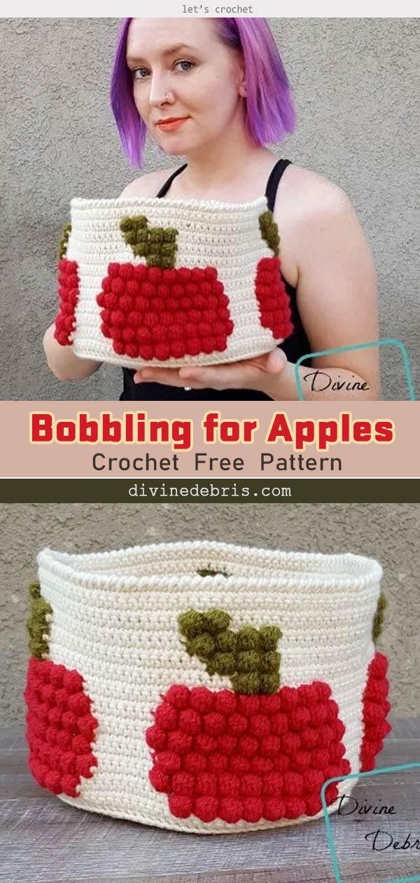 Crochet Bobbling for Apples Basket Free Pattern