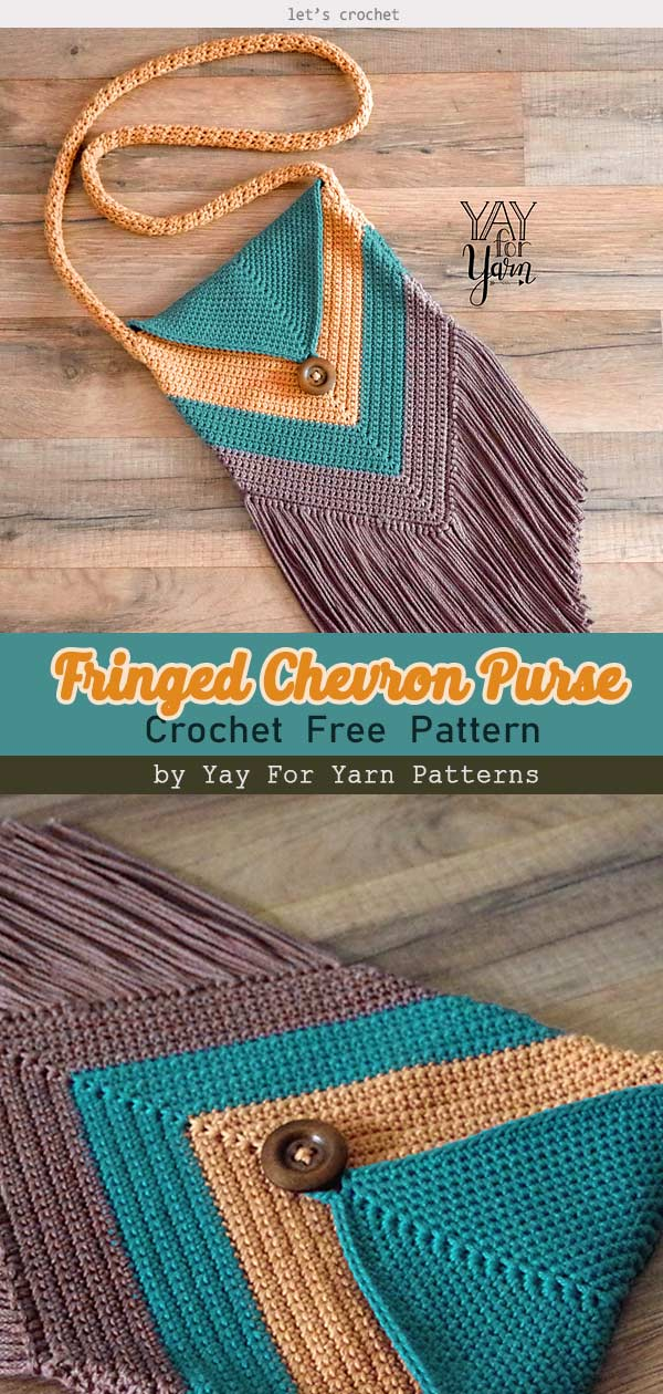 Fringed Chevron Purse Free Crochet Pattern