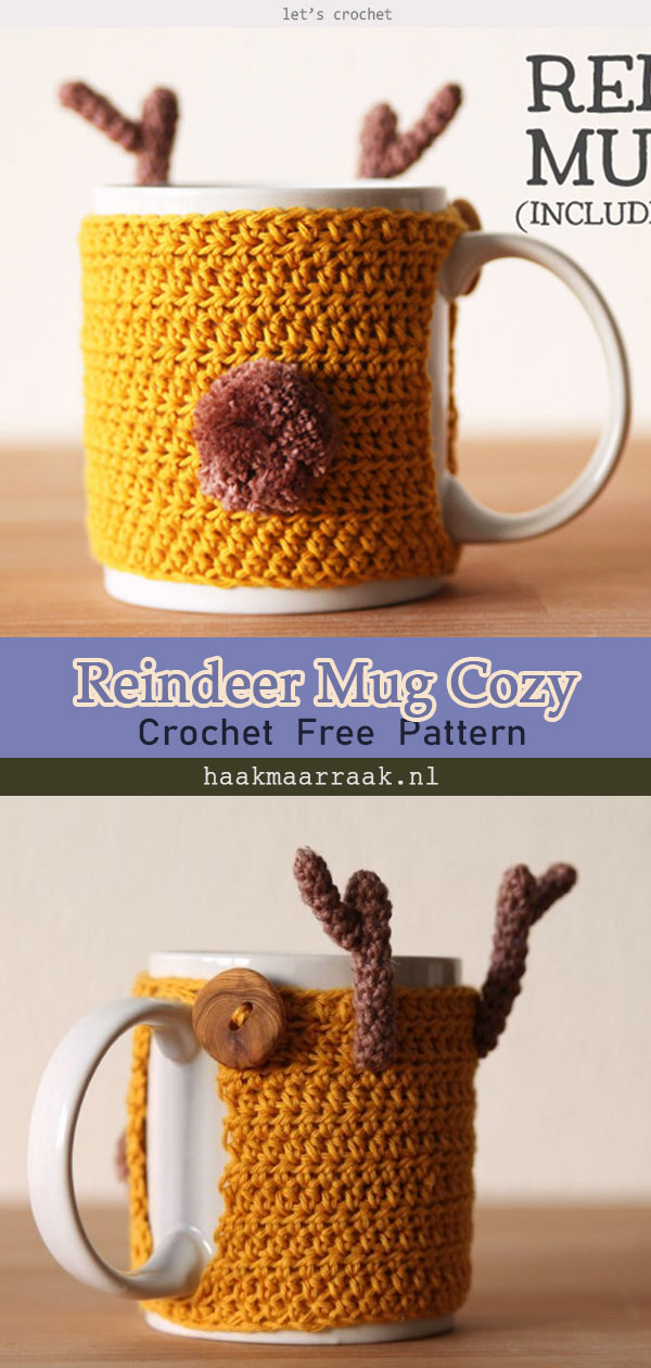 Reindeer Mug Cozy Free Crochet Pattern
