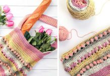 Crochet Gathering Rosebuds Market Bag Free Pattern