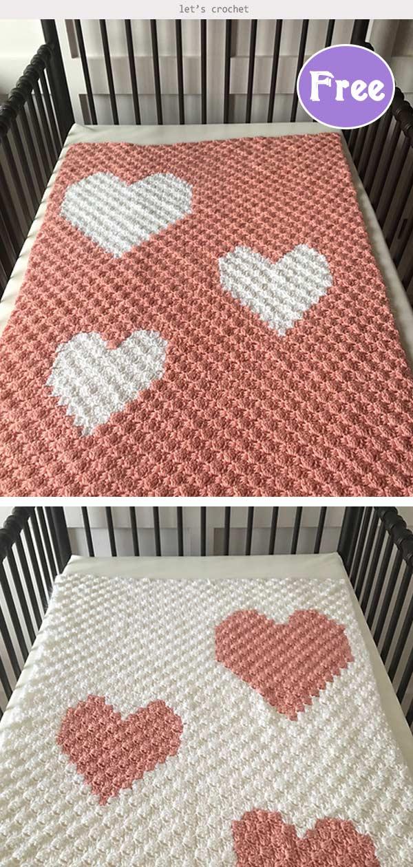 Hearts Blanket Free Crochet Pattern