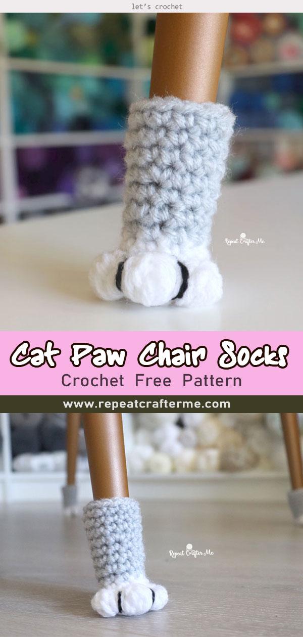 Crochet Cat Paw Chair Socks Free Pattern