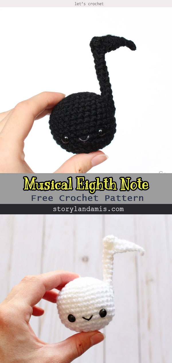 Crochet Musical Eighth Note Free Pattern