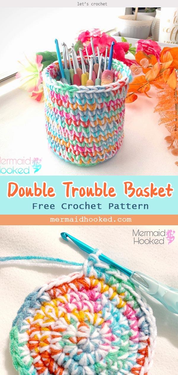 Double Trouble Basket Free Crochet Pattern
