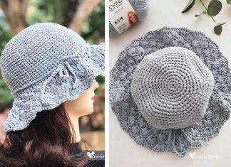 Floppy Shell Brim Summer Sun Hat Free Crochet Pattern