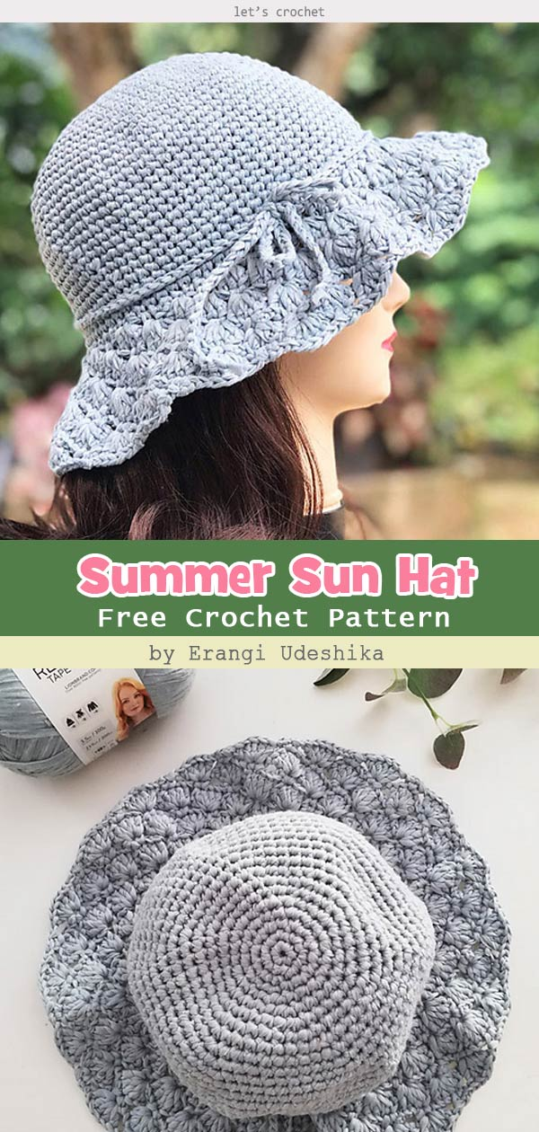 Floppy Shell Brim Summer Sun Hat Free Crochet Pattern