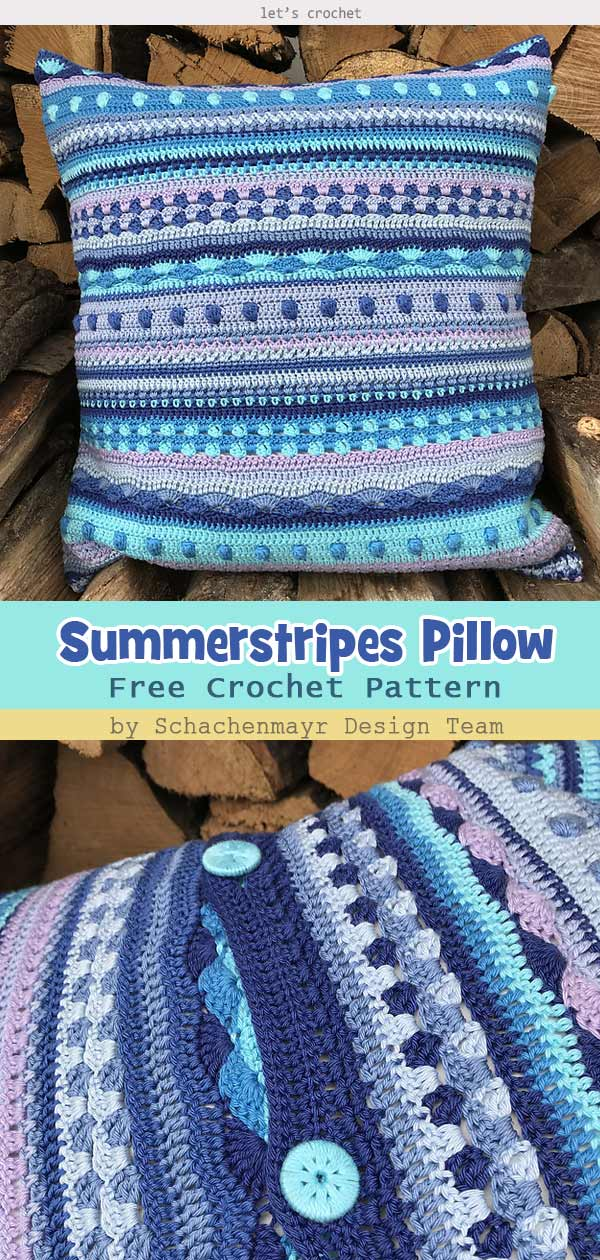 Summerstripes Pillow Free Crochet Pattern
