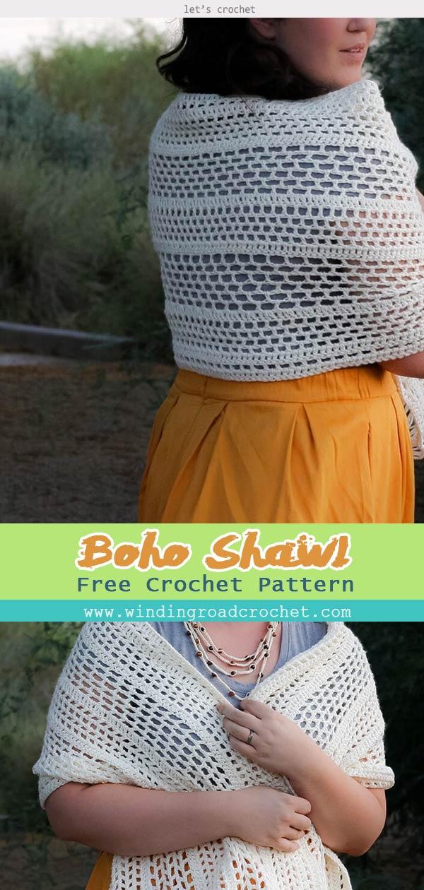 Crochet Boho Shawl Free Pattern