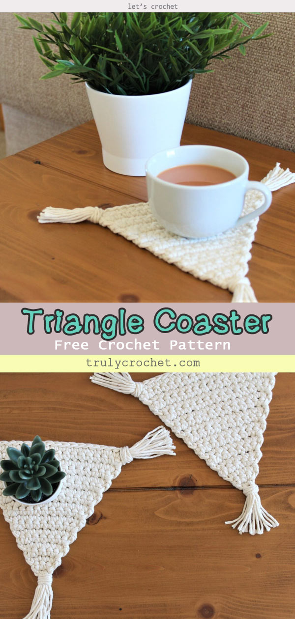 Boho Triangle Coaster – Free Crochet Pattern