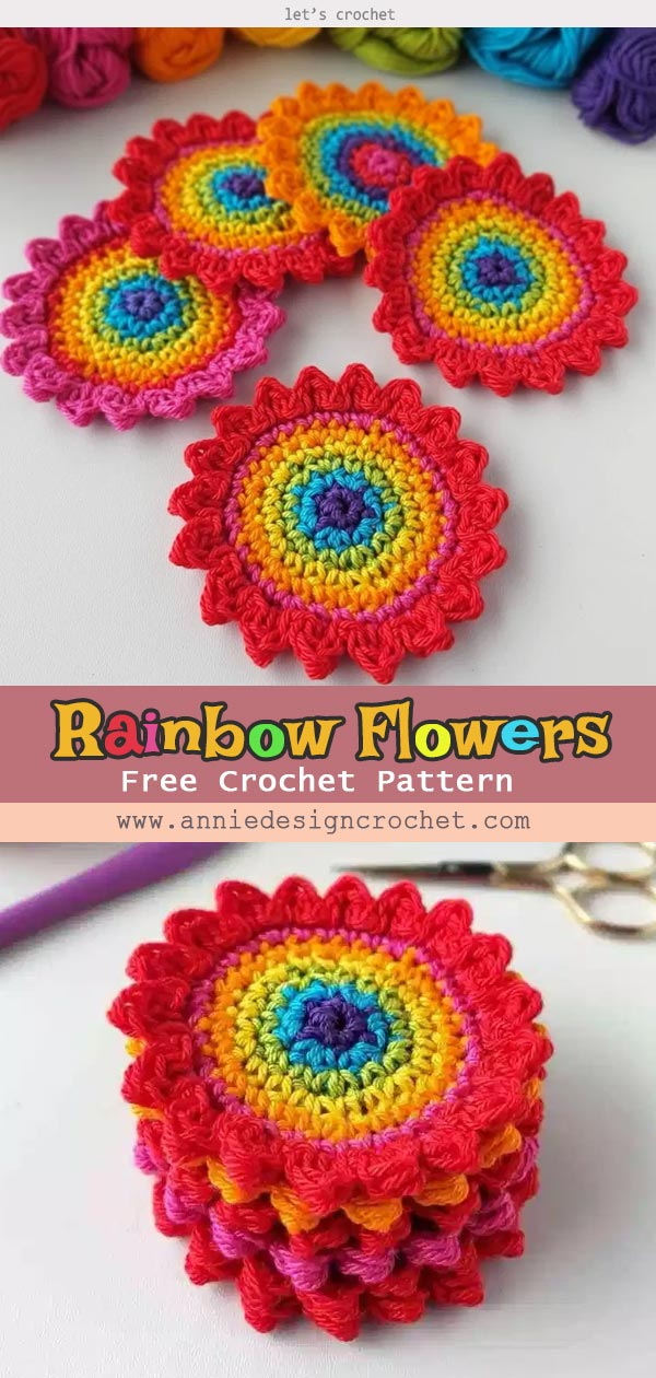 Crochet Rainbow Flowers Applique Free Pattern