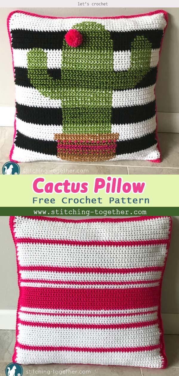 Crochet Cactus Pillow Free Pattern