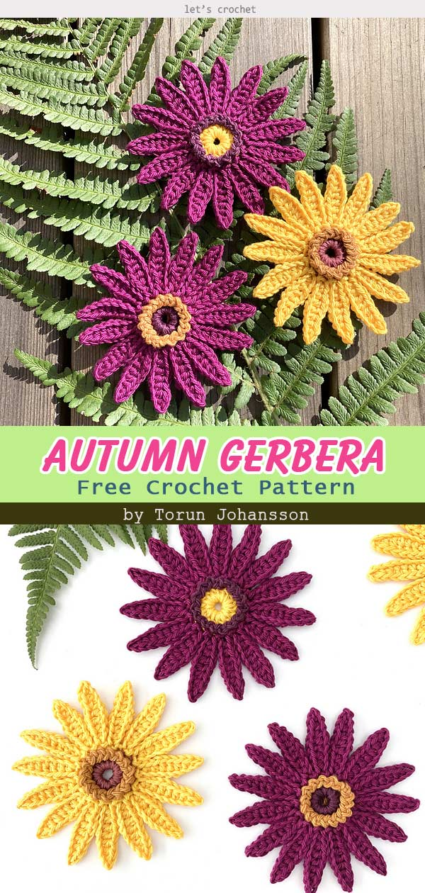 Autumn Gerbera Flower Free Crochet Pattern