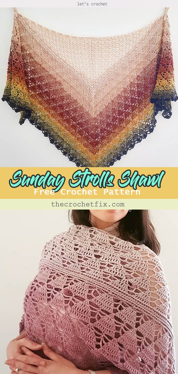 Sunday Strolls Shawl Free Crochet Pattern