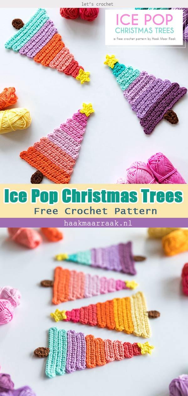 Ice Pop Christmas Trees Free Crochet Pattern
