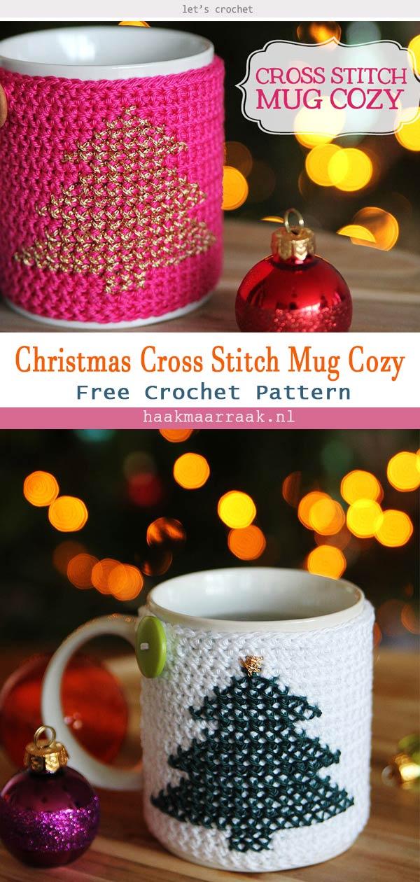 Christmas Cross Stitch Mug Cozy Crochet Free Pattern