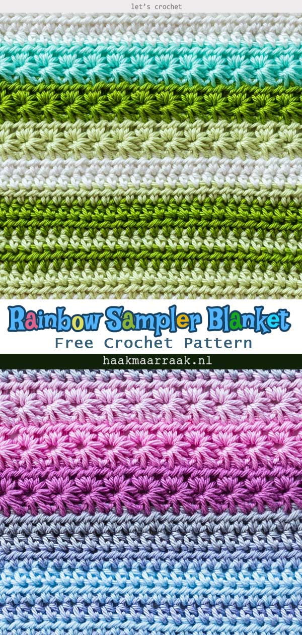Baby Rainbow Sampler Blanket Crochet Free Pattern