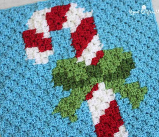 Crochet Christmas Candy Cane Pixel Square Free Pattern
