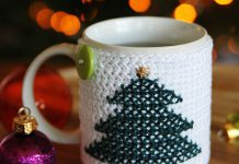 Christmas Cross Stitch Mug Cozy Crochet Free Pattern