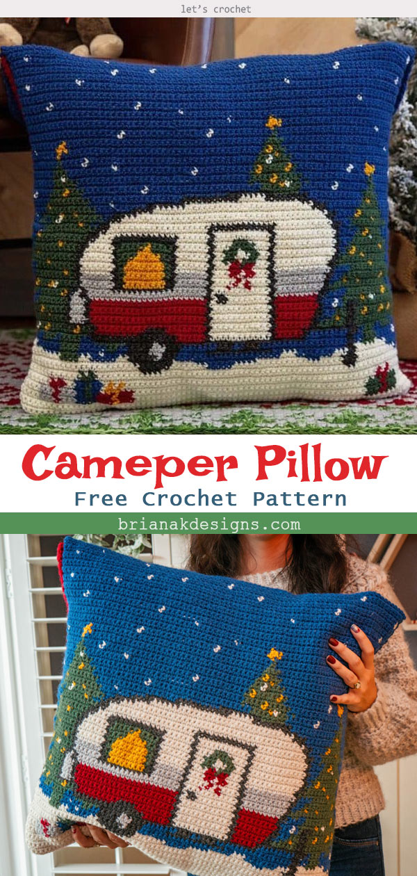 Christmas Holiday Camper Crochet Pillow Free Pattern