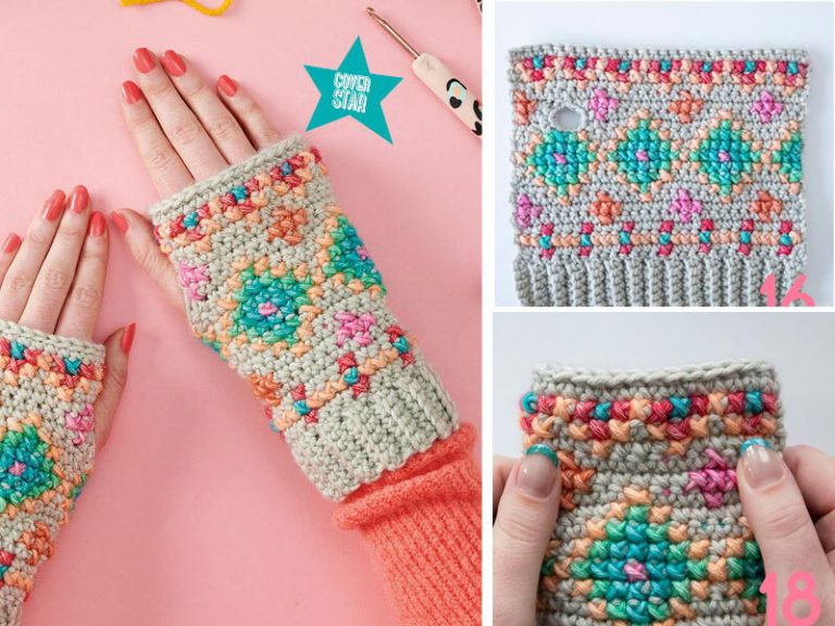 Crochet the Hygge Embroidered Wristies Free Pattern
