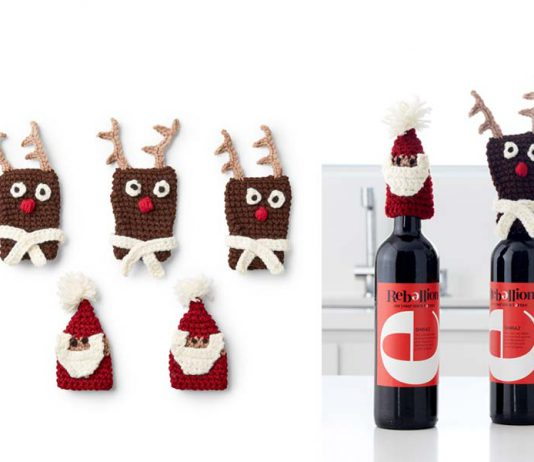 BERNAT BOTTLE TOPPERS, SANTA Crochet Free Pattern