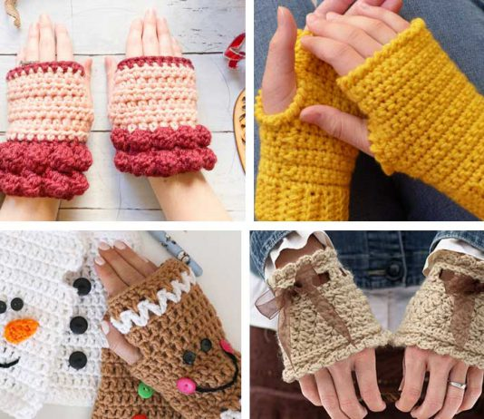 4+ Easy Fingerless Gloves Crochet Free Pattern