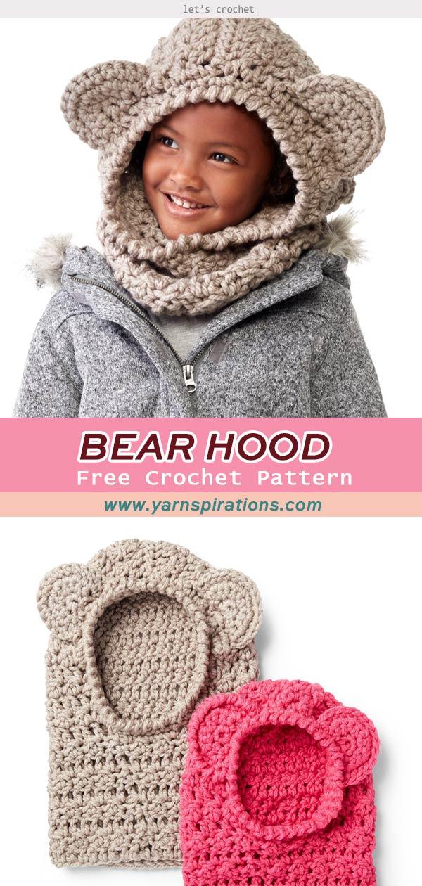 Bernat Crochet Bear Hood Hat Free Pattern