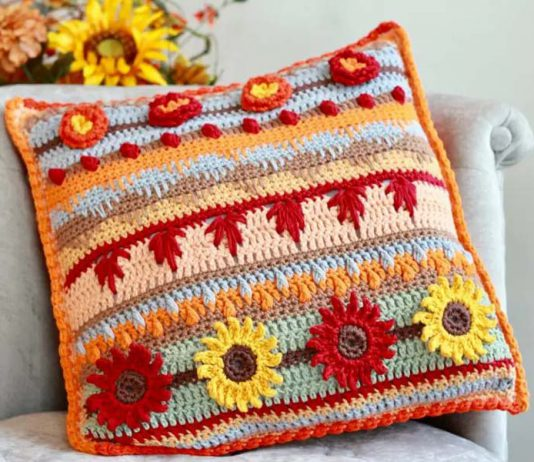 Autumn Rhapsody Stitch Sampler Pillow Free crochet Pattern