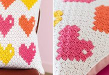 8-bit Love Pillow Free Crochet Pattern