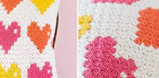 8-bit Love Pillow Free Crochet Pattern
