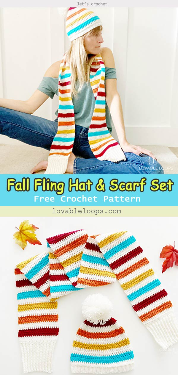 Fall Fling Hat & Scarf Set Free Crochet Pattern