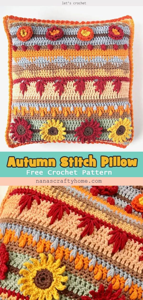 Autumn Rhapsody Stitch Sampler Pillow Free crochet Pattern